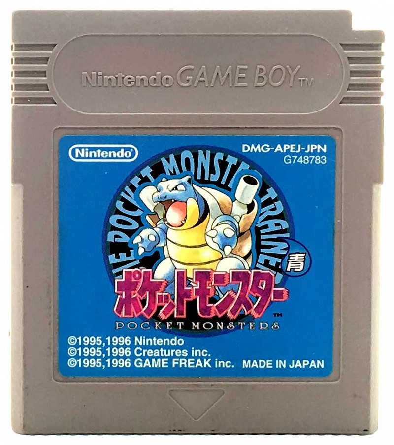Photo of gray Game Boy game cartridge for Pokemon (Blue Version)