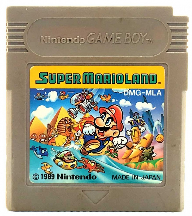 Photo of gray Game Boy game cartridge for Super Mario Land